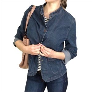 Eileen Fisher Snap Button Blue Jean Jacket Small